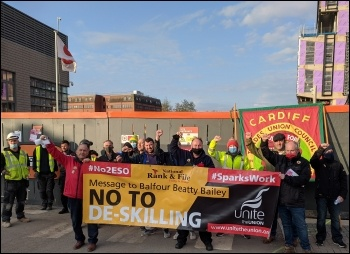 Sparks protest in Cardiff