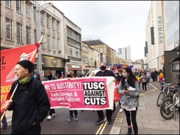 Marching in Bristol on May Day, 1.5.21, photo by Roger Thomas