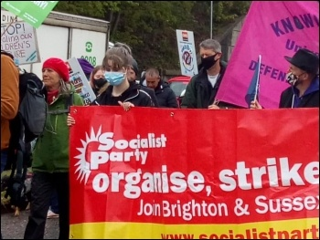Socialist Party members join the march, photo Brighton SP