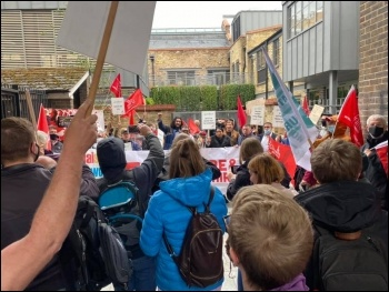 Goodlord mass picket, including occupying the company courtyard, 25 May. Photo: London SP