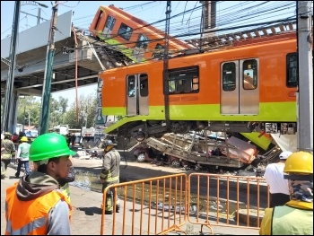 The collapsed Line 12. Photo: Secretariat for comprehensive risk management and civil protection of Mexico City/CC