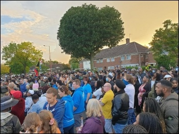 Birmingham residents assemble in solidarity with Dea-John's family and friends, photo Kris O'Sullivan