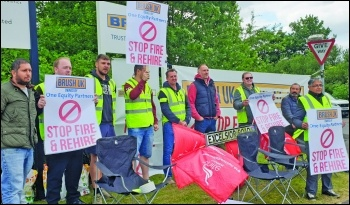 Workers on the picket line at Brush Electrical Machinery. Photo: Steve Score