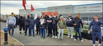 Rank and file sparks at the Amazon construction site at Follingsby Park, Gateshead, protesting on the day before they achieved victory by being reinstated.