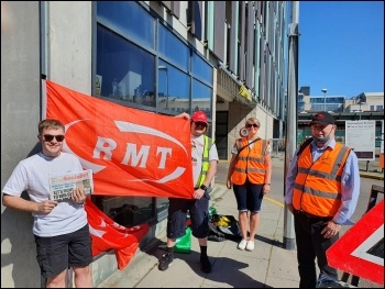 RMT picket at Nottingham station - East Midlands Railway dispute - Sunday 13th June, photo G Freeman