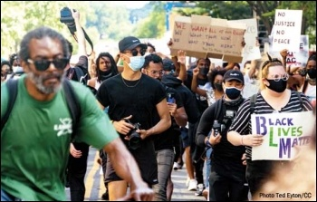 Mass protests, with widespread support in all communities, erupted after the cop murder of George Floyd. Photo: Ted Eyton/CC