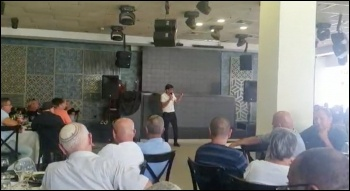 Eli Badash addressing a national meeting of reps from 30 hospitals to prepare for the strike