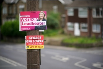 Posters during the Batley & Spen by-election campaign