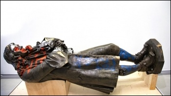 The toppled statue of slaver Edward Colston, now in exhibition
