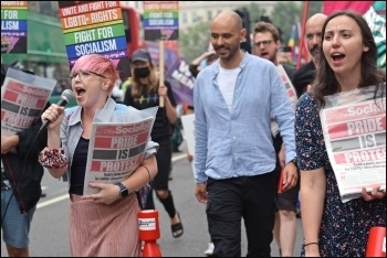 Socialist Party members on the Reclaim Pride march, London 24 July 2021, photo by Mary Finch