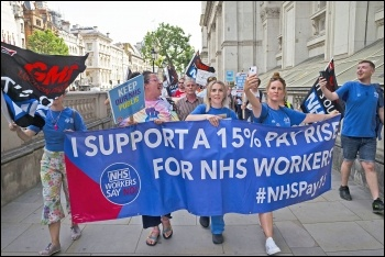 Health workers submitted an 800,000-strong petition for an NHS pay rise to Downing Street Photo: Paul Mattsson