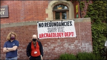 Protests to save the Archaeology department at Sheffield University Photo: Alistair Tice