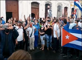 Protesters in Cuba. Photo: Perlavision Cienfuegos/CC