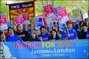 Youth fight for jobs on the Jarrow March in 2011. Photo: Paul Mattsson