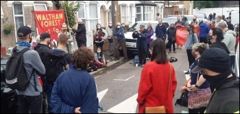 Waltham Forest Socialist Party members, along with local trade unionists and others, in a bailiff-defying vigil outside Nadia's home, photo Martin Reynolds