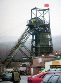 The red flag flies over Tower Colliery in South Wales, photo Mariam Kamish