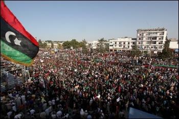 Mass demonstration against the regime of Gaddafi in Bayda, Libya 2011, photo