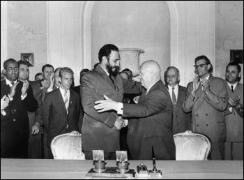 Premiers Nikita Khrushchev of the Soviet Union and Fidel Castro of Cuba, photo