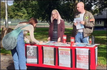 A Socialist Students stall outside Northampton university, September 2021