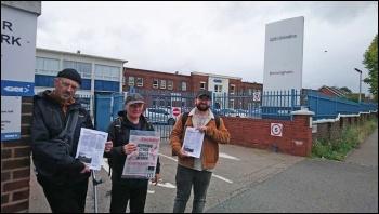 Leafletting outside the GKN plant photo: Birmingham Socialist Party