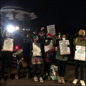 Socialist Party members on the Sarah Everard vigil in South London February 2021, photo London SP