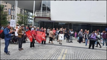 Protest outside Stratford Circus Summer 2021, photo East London SP