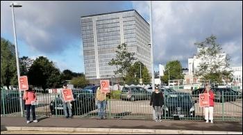 Swansea DVLA workers on strike in July, photo Swansea Trades Council
