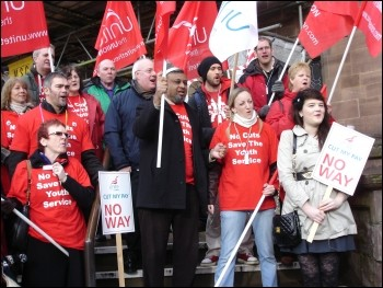 Unite members on strike to save a Coventry youth centre, photo Clive Dunkley