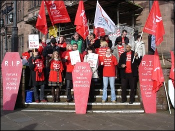 Coventry youth workers' strike - CYWU Unite members, photo Clive Dunkley