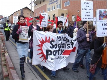Leeds Youth Fight for Jobs (YFFJ) demonstration February 2010, photo Leeds Socialist Party