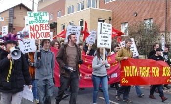 Leeds Youth Fight For Jobs demo February 2010, photo Leeds Socialist Party