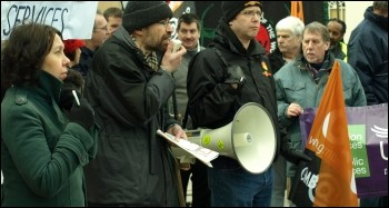 Mansfield Socialist Party anti-cuts protest, with Jon Dale on megaphone, photo Sulleyman Civi