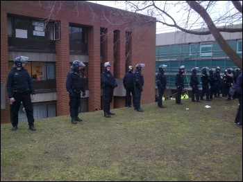 Riot police descend on Sussex University occupation, photo Socialist Students