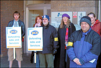 Stoke-on-Trent PCS members on strike, photo by Stoke Socialist Party