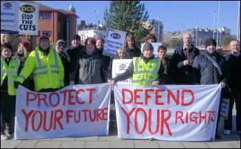 Birkenhead PCS strikers on the picket line, photo by Merseyside Socialist Party