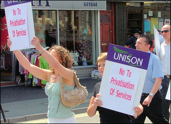 Unison members in Wales protest against privatisation, photo Socialist Party Wales