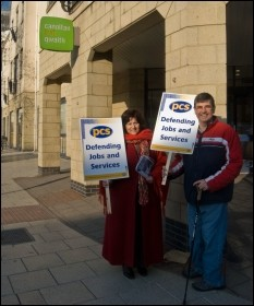 Cardiff PCS members on the picket line, photo by Sarah Mayo