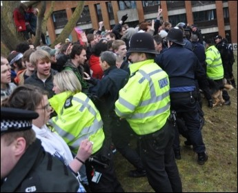 Police confront anti-cuts student demonstrators at Sussex University, photo W. Smith