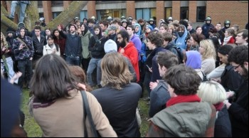 Sussex university students demonstrate against cuts, photo W. Smith