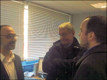 The raid on Greenwich Unison offices. Onay Kasab (on left) is told to 'disappear'