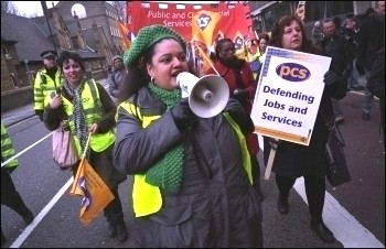 PCS members marching through London during their two day strike in March 2010, photo Paul Mattsson
