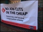 PSC banner in Leicester on the picket line, photo Leicester Socialist Party
