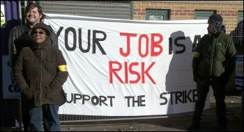 PCS members on the picket line in Leicester, photo by Leicester Socialist Party