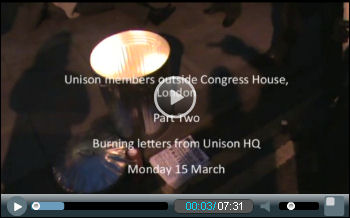 Unison witchhunt video 2: : Defend the Four protest burns letters from Unison HQ - part one