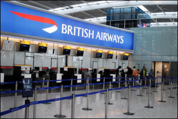 British Airways check-in during cabin crew strike, photo Jules Mattsson