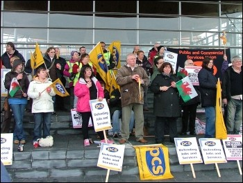 PCS workers on strike and protesting outside the Welsh Assembly, photo Cardiff Socialist Party