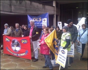 Striking Sheffield civil servants, members of PCS, photo R Faulds