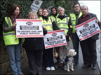 Wrexham PCS workers on strike, photo Andrew McCoy