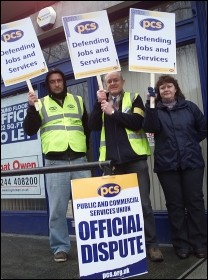 Wrexham PCS workers on strike, photo Andrew McCoy