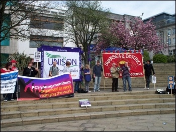 Swansea May Day demonstration, photo Swansea Socialist Party